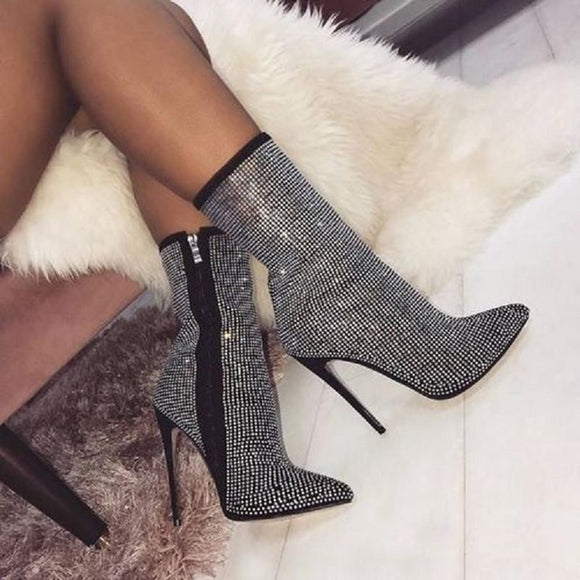 Women's Shoes - New Sexy Crystal Pointed Toe High Heels Ankle Boots