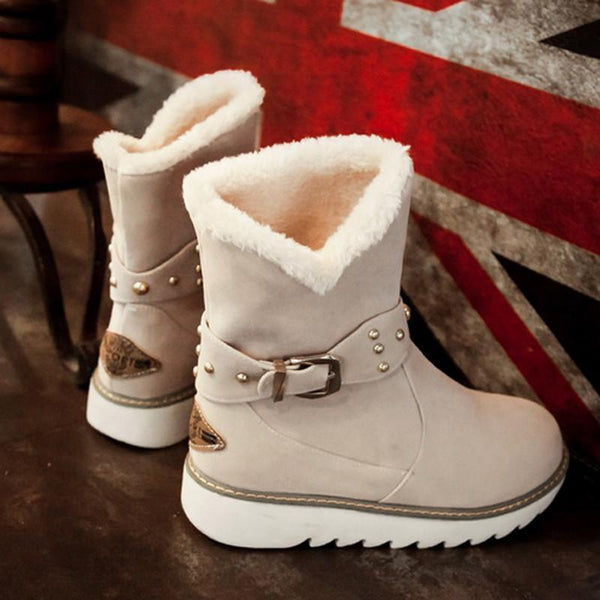 Women's Shoes - Fashion Plus Size Warm Plush Faux Fur Snow Boots
