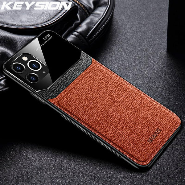 Jollmall Phone Case - Leather Mirror Tempered Glass Phone Back Cover