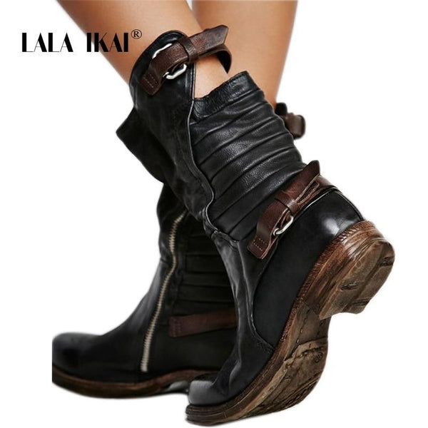 Women's Shoes - Fashion Women's Black Zipper Buckle Boots