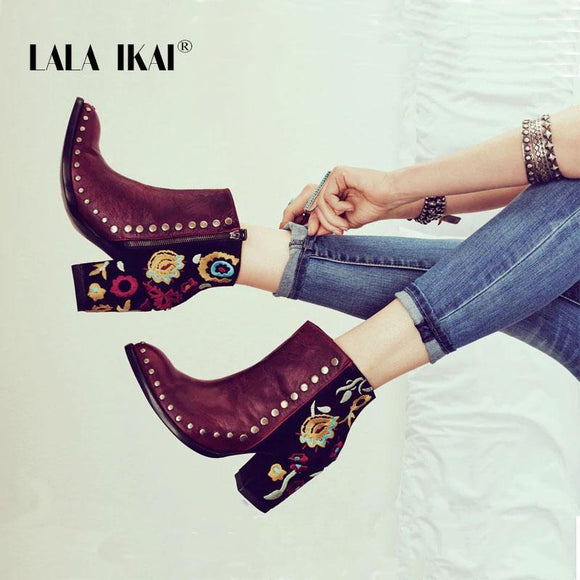 Women Shoes - Women Embroider High Ankle Shoes Boots