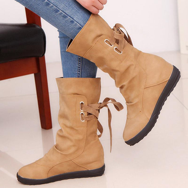 Shoes - Women's Cross-tied Mid calf Boots