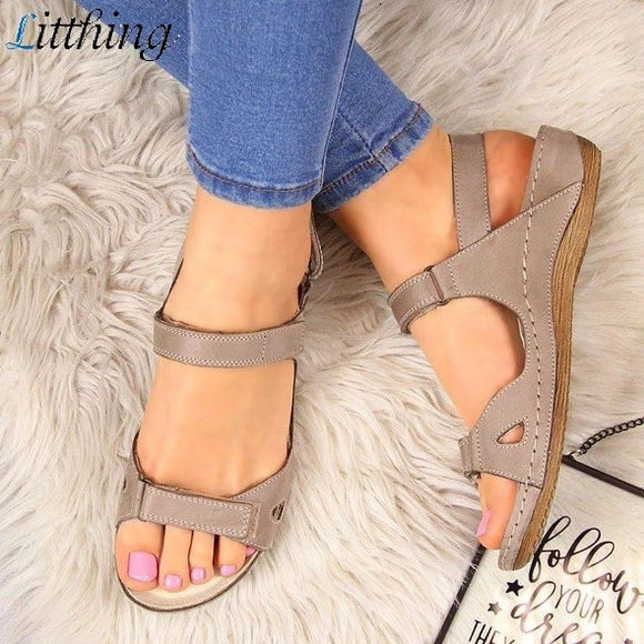 Jollmall Women Shoes - Fashion Leather Flat Solid Peep Toe Sandalias(Buy 2 Get 10% off, 3 Get 15% off Now)