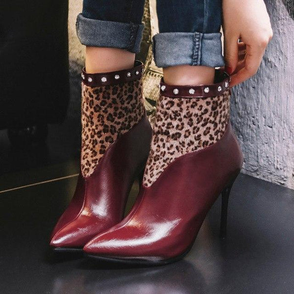 Women Leopard Rivet Pointed Toe High-Heel Ankle Boots