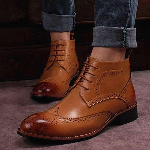 Men's Shoes - Fashion Leather Lace-up Western Style Ankle Boots