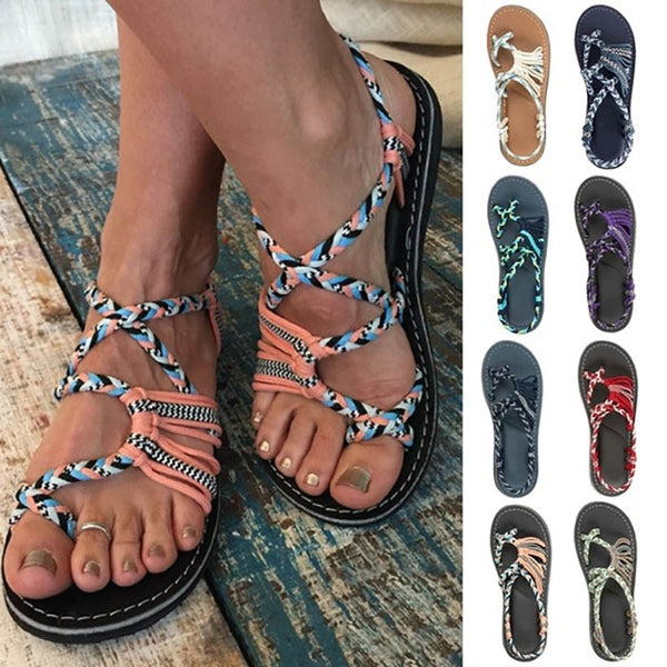 Sandals - Fashion Women's Summer Casual Open Toe Bandage Beach Sandals Flip-flops