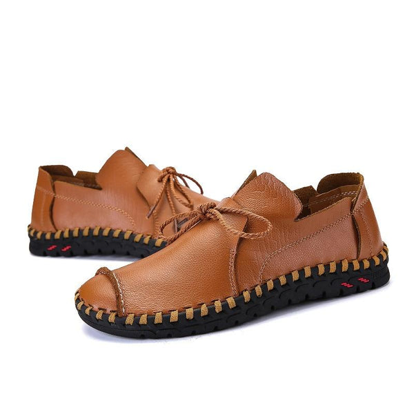 Men's Shoes - Genuine Leather Flat Anti-Slip Loafers Moccasins Shoes