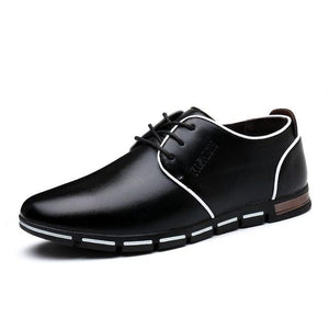 Shoes - Men's Casual Lace-Up Leather Flats Shoes