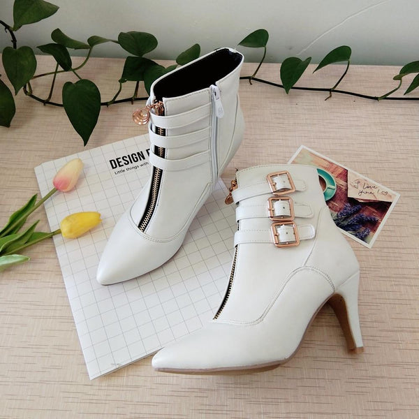 Women's Shoes - Fashion Pointed Toe Buckle High Heel Boots