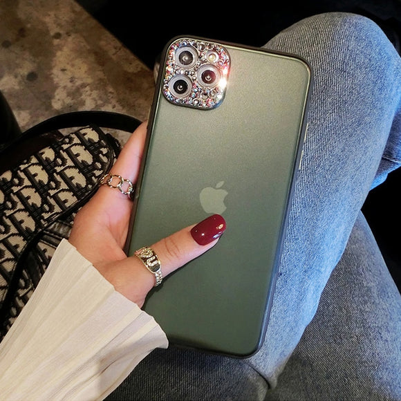 Jollmall Phone Case - Diamond Camera Protection Matte Cover For iPhone(Buy 2 Get 10% off, 3 Get 15% off Now)