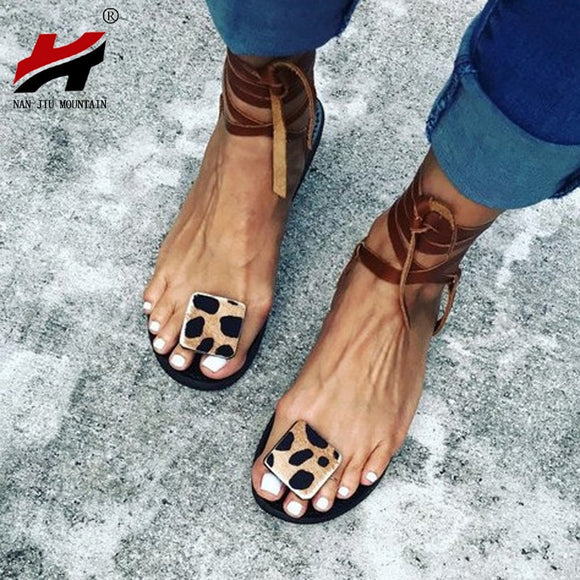 Jollmall Women Shoes - Women's Flats Open Toe Leopard Casual Shoes(Buy 2 Get 10% off, 3 Get 15% off Now)