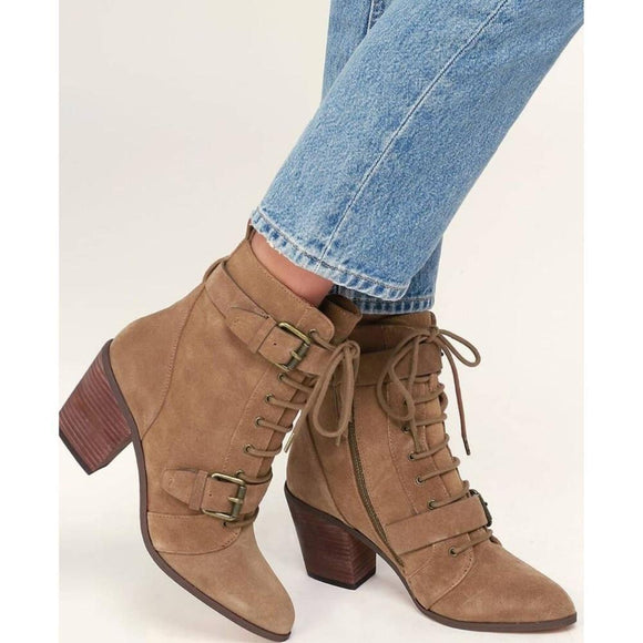 Women Shoes - Buckle With High-Heeled Ladies Martin Boots