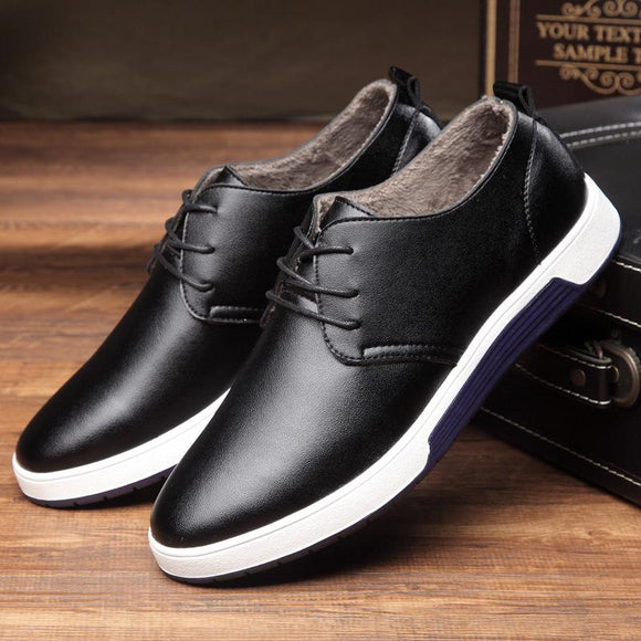 Autumn Winter Fashion Casual Plush Leather Men's Shoes