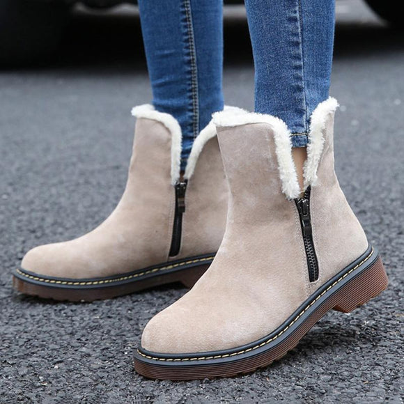 Women's Shoes - Women's Warm Plush Genuine Leather Ankle Boots
