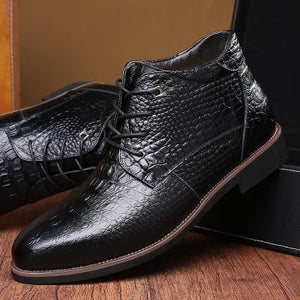 Men Mesh Crocodile Pattern Pointed Toe Leather Short Boots