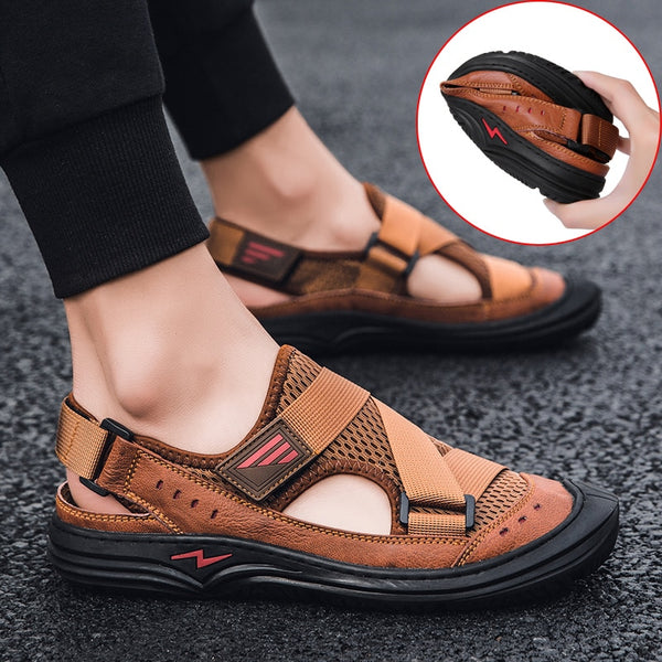 Jollmall Men Shoes - Toe Protection Genuine Leather Men's Sandals