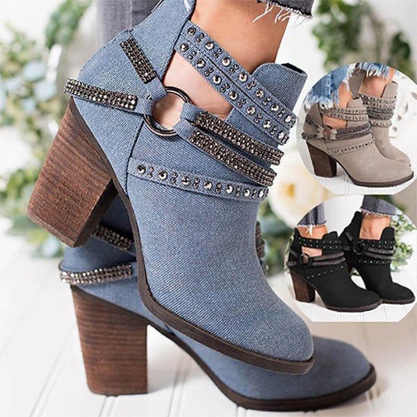 Women Vintage Bling Buckle Denim Boots