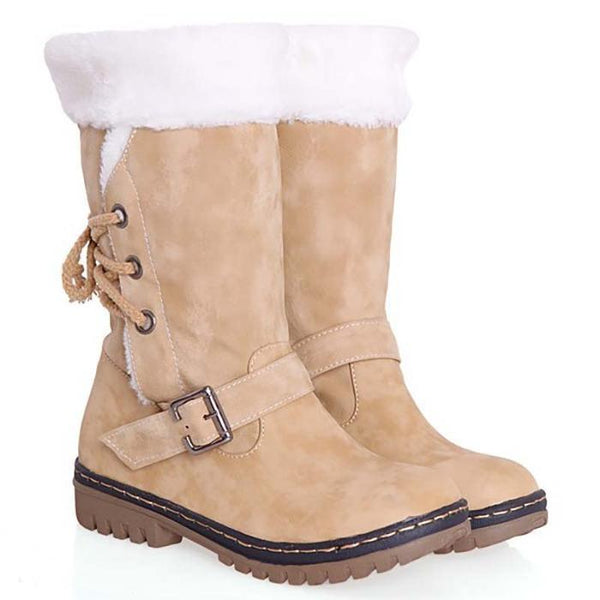 Women's Shoes - Outdoor Faux Fur Lace-up Back Snow Boots