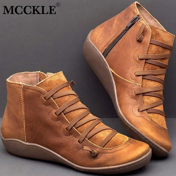 Women Shoes - Autumn Winter Cross Strappy Vintage Women Punk Boots