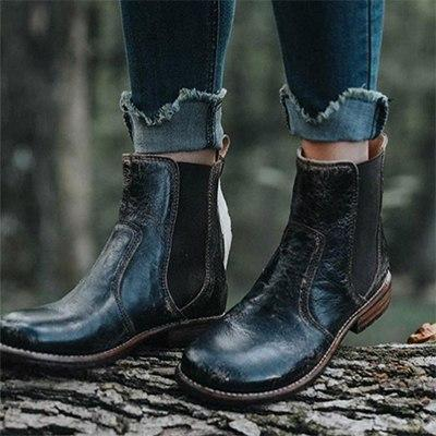 Winter Leather Women Vintage Platform Martin Boots
