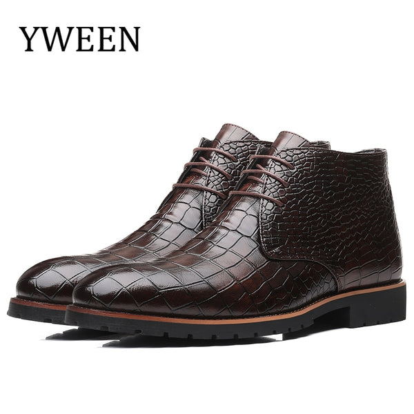 Men's Shoes - Lace-up Crocodile Pattern Leather Boots