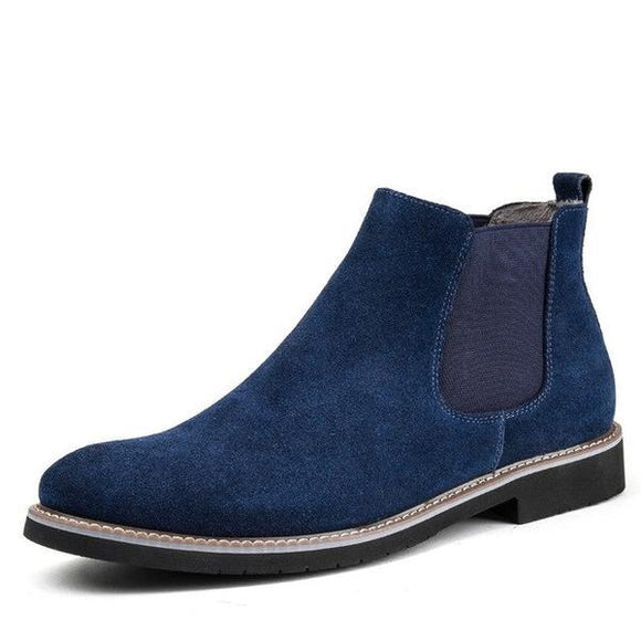 Men's Shoes - Round Split Leather Slip On Cow Suede Ankle Boots