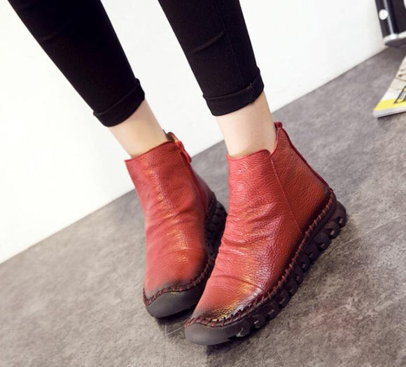 Women's Shoes - Genuine Leather Waterproof Warm Ankle Boots For Ladies