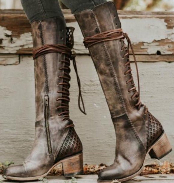 Women's Shoes - Vintage Knee High Lace Up Boots