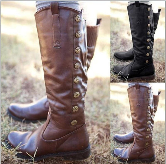 2019 Fashion Vintage Leather Gladiator Button Casual Boots
