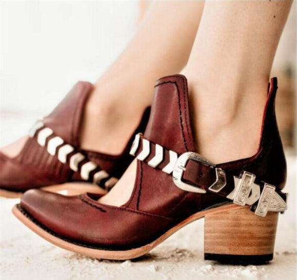 Women's Shoes - Fashion Vintage Buckle Strap Boots