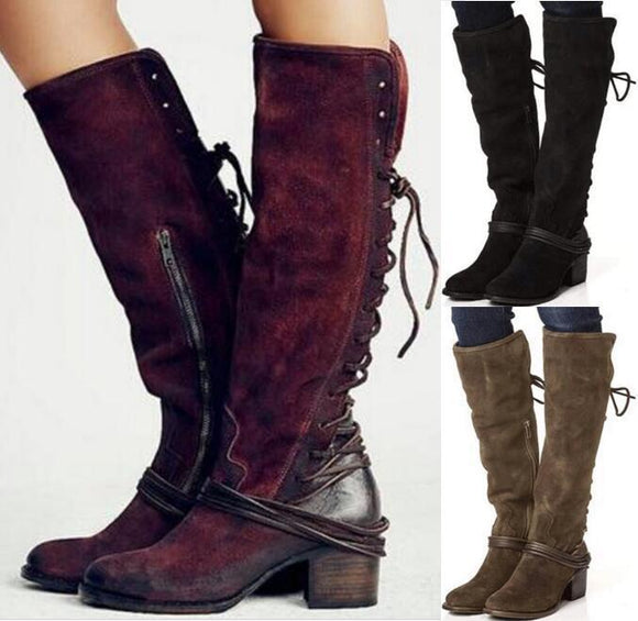 Boot - Women Chunky High Heels Knee High Boots