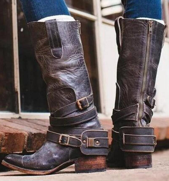 Shoes - Women's Fashion Vintage Low Heels Zipper Boots