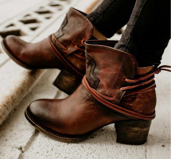 Boot - Vintage Chunky High Heels Booties Lace up Ankle Boots