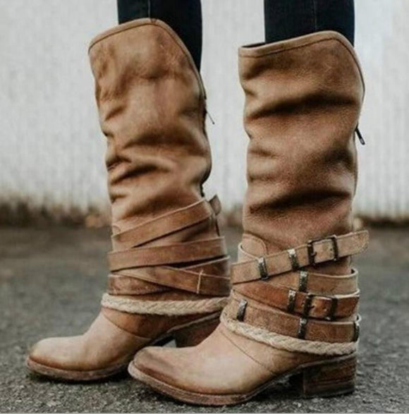 Women's Shoes - Vintage Knee High Buckle Strap Boots