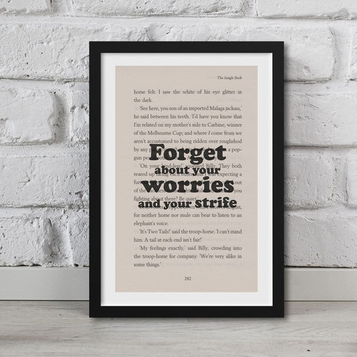 Jungle Book - Book Page Art Forget About Your Worries And Your Strife Print