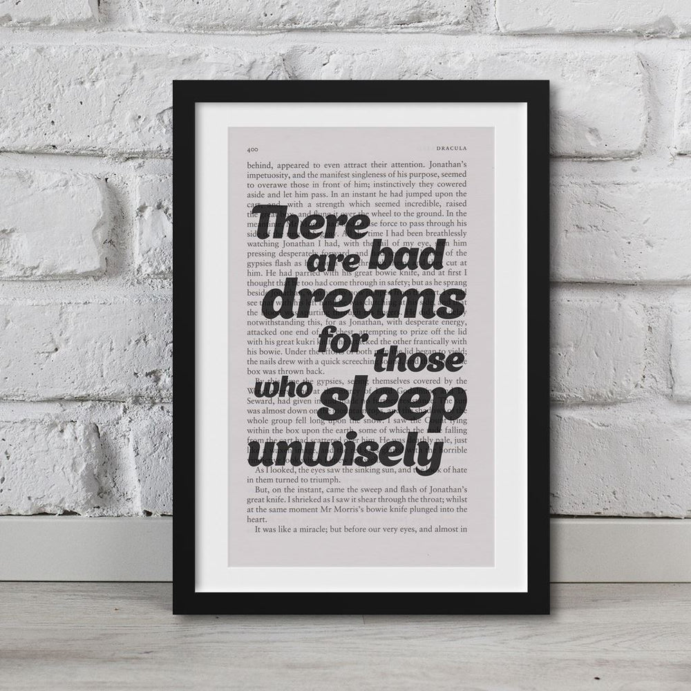 Dracula Book Page Art There Are Bad Dreams For Those Print Quote