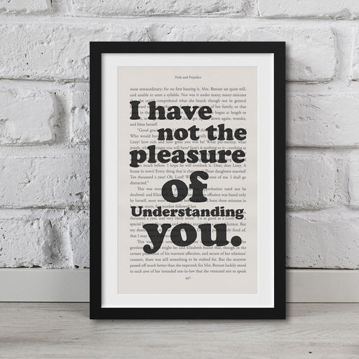 Pride And Prejudice Book Page Art I Have Not The Pleasure Print