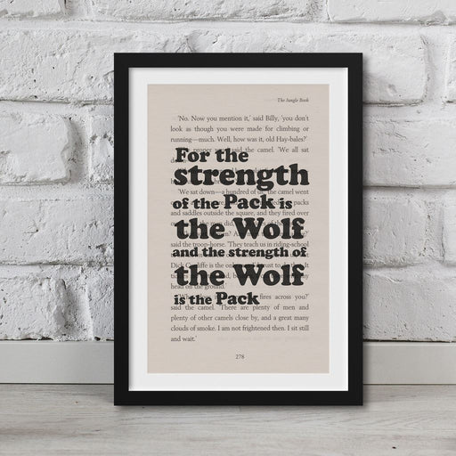 Jungle Book - Book Page Art Strength Of The Wolf Is The Pack Print