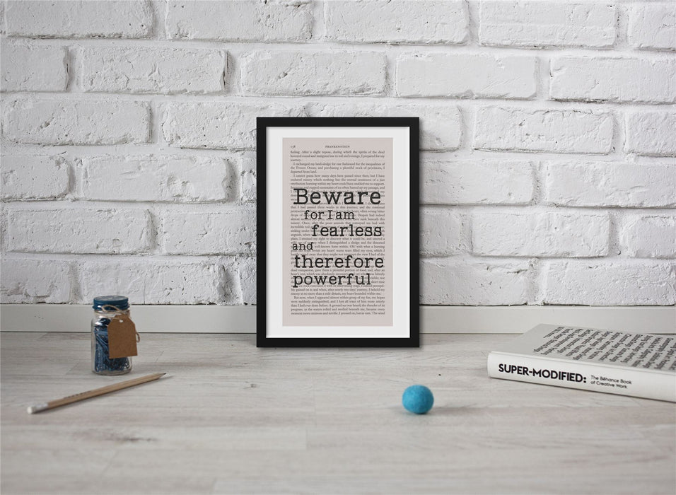 Frankenstein Quotes Book Page Art I Am Fearless And Therefore Powerful Print