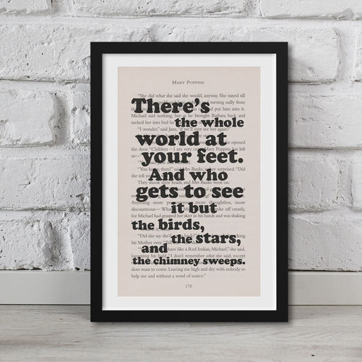 Mary Poppins Book Page Art There's The Whole World At Your Feet Print