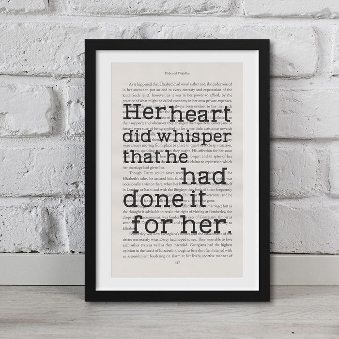 Pride And Prejudice Book Page Art Her Heart Did Whisper Print Quote
