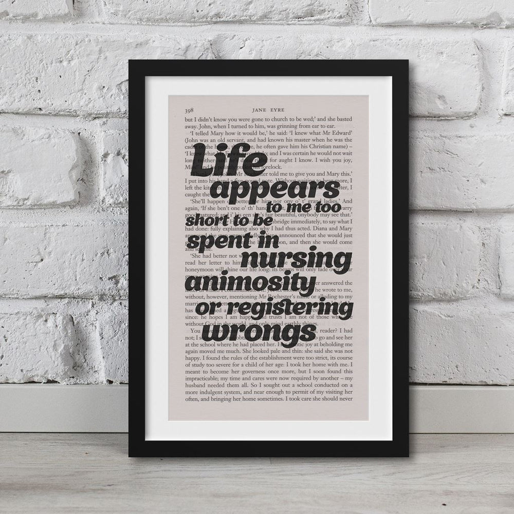 Jane Eyre Book Page Art Life Appears To Me Too Short Print Quote