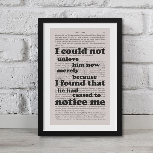 Jane Eyre Book Page Art I Could Not Unlove Him Now Print Quote