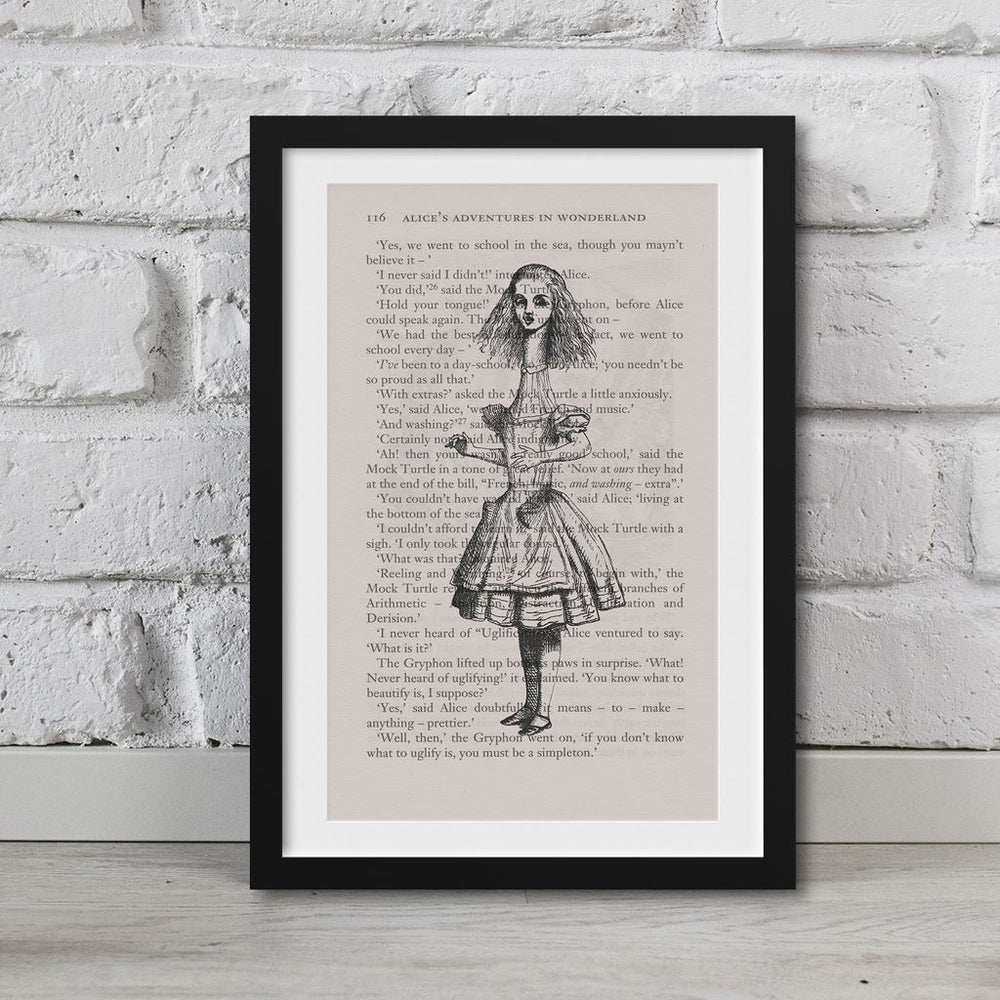 Alice In Wonderland Book Page Art Long Neck Alice Print