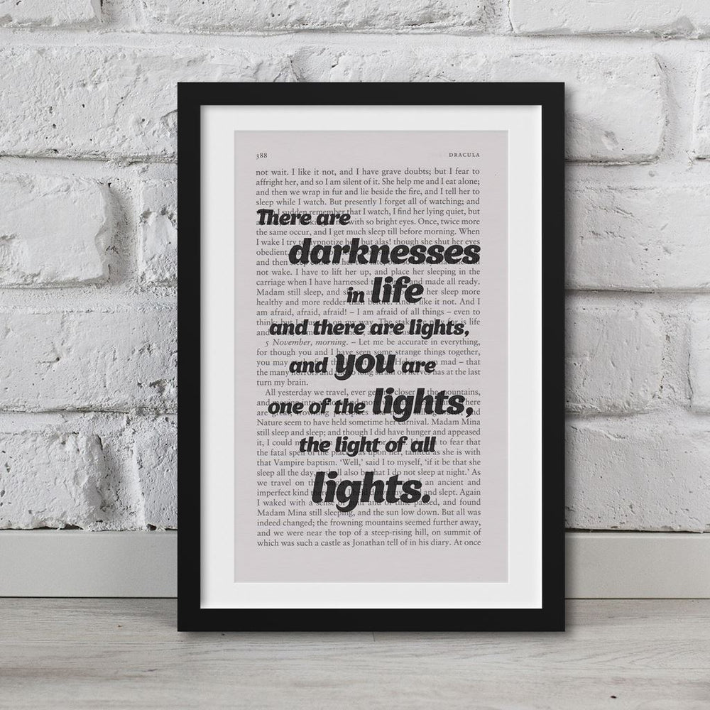 Dracula Book Page Art There Are Darknesses In Life Print Quote