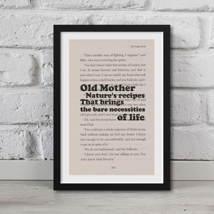 Jungle Book - Book Page Art Old Mother Nature'S Recipes Print Quote