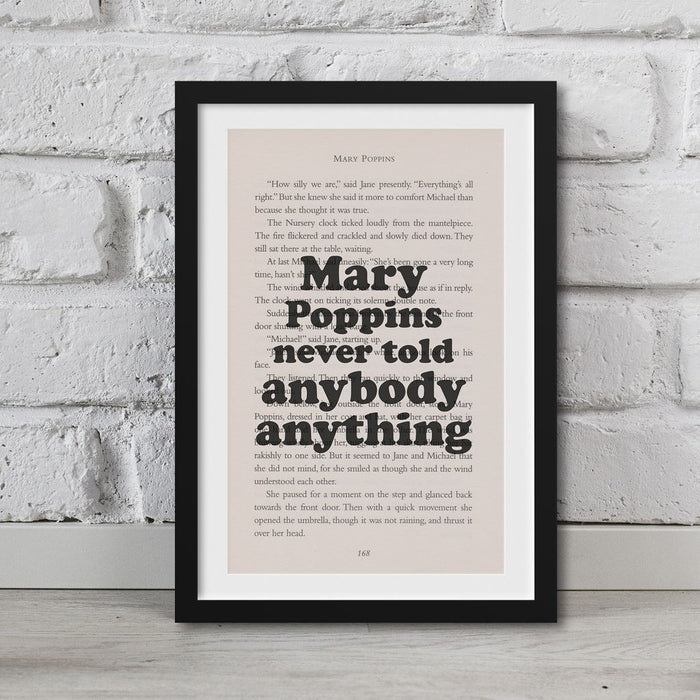 Mary Poppins Book Page Art Mary Poppins Never Told Anybody Anything Print