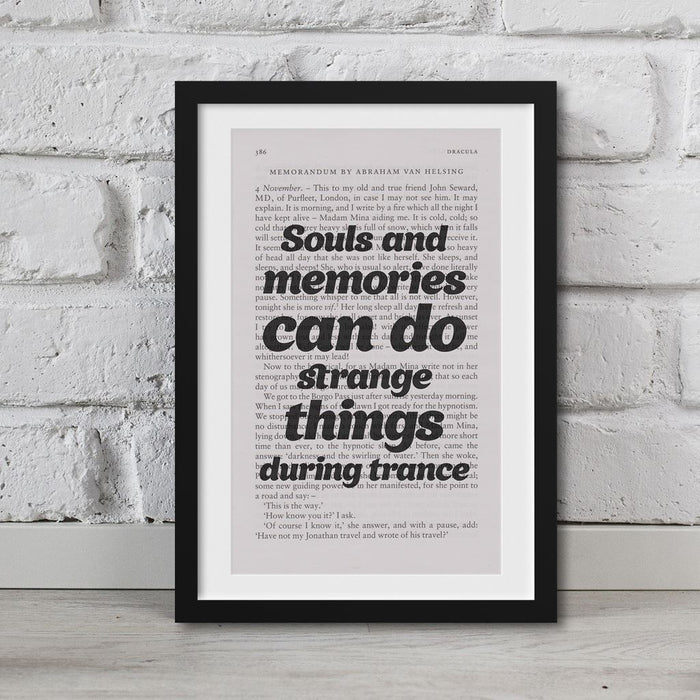 Dracula Book Page Art Souls And Memories Can Do Strange Things Print