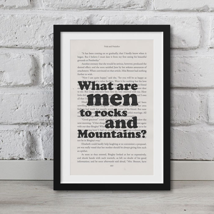 Pride And Prejudice Book Page Art What Are Men To Rocks And Mountains? Print