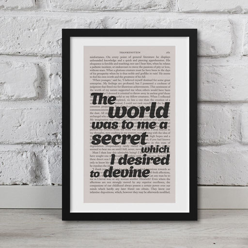 Frankenstein Quotes Book Page Art The World Was To Me A Secret Print